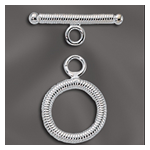STERLING SILVER 14MM ROUND RIBBED TOGGLE CLASP